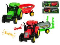 Traktor s vlečkou 27 cm na setrvačník na baterie se světlem a zvukem - mix variant či barev