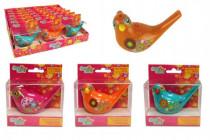Píšťalka vodní ptáček se šňůrkou plast 10cm - mix barev