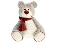 Medvěd plyšový 29 cm sedící se šálou