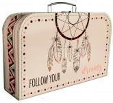Kufřík Lapač snů bílo/růžový 35 cm