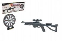 Pistole puška laserová+terč plast 66cm na baterie se světlem se zvukem