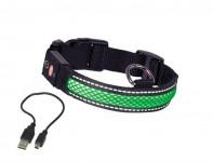 Obojek nylon svítící zelený Nobby 36-51 cm