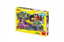 Puzzle Mickey a Minnie na závodech 4x54 dílků 19x13cm