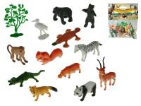 Zvířátka safari 4-8 cm + stromek 13 ks - mix variant či barev