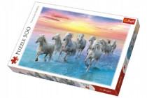 Puzzle Cválající bílé koně 500 dílků 48x34cm - VÝPRODEJ
