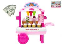 Vozík zmrzlinový pojízdný 23x33x20 cm s doplňky