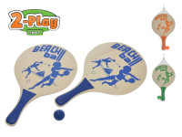 Plážová sada pálky 2-Play dřevěné 2 ks 38x24 cm s míčkem - mix barev
