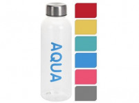 láhev na pití 500ml AQUA plastová, kov. víčko - mix barev