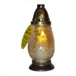 lampa hřbitovní JARNÍ MOTIV sklo 23cm (100g) (hoří 38 hod) paraf.