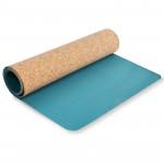 Spokey SAVASANA jóga podložka na cvičení korková, tyrkys 3 mm
