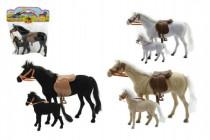 Kůň 27cm s hříbětem 13cm fliška 2ks - mix barev