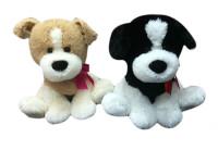 Pes plyšový 38 cm sedící s mašlí - mix barev