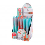 Fancy kuličkové pero modrá náplň 0,7 mm display 24ks, šedá-oranž-zelená