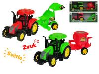 Traktor s přívěsem 27 cm na setrvačník na baterie se světlem a zvukem - mix variant či barev