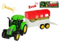 Traktor s přívěsem pro koně 33 cm na setrvačník na baterie se světlem a zvukem - mix variant či barev