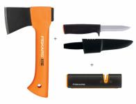 Set FISKARS sekera X5 + nůž K40 + ostřič Xsharp 1025441