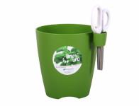 Obal na květník LIMES UNO + nůžky plastový zelený d15x16cm