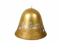 Svíčka STŘÍBRNÝ MOTIV ZVONEK vánoční metalická d8,5x8cm
