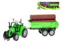Traktor s vlečkou a dřevem 34 cm na setrvačník - mix barev