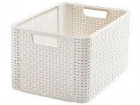 box úložný RATTAN 43,6x33x23cm (L), STYLE2, plastový, KRÉM