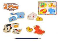 Vkládačka dřevěná 2-Play zvířátka 30x22,5 cm - mix variant či barev