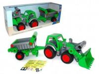 Traktor Farmář s lopatou a přívěsem