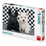 Puzzle dva pejsci černobílé 47x33cm 500 dílků