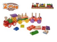 Vláček + 2 vagóny dřevěný 33 cm 2-Play s kostkami