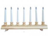 svícen vánoční el. 7 svíček LED, dřev. přírodní 42,5x21,5x5cm, na baterie