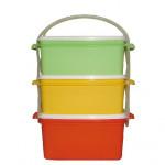 jídlonosič 2x1,2l + 1x1,4l hranatý 17x15x20cm plastový - mix barev