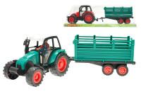 Traktor s vlečkou plast 33cm na setrvačník - mix barev