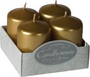 Svíčka adventní 40x60 mm - metalická zlatá (4ks) (SW5592)