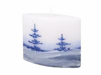 Svíčka ZIMNÍ KRAJINA ELIPSA - DIODA vánoční 14x12cm