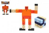 Kostka hlavolam robot dřevo 6cm