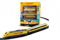 Vlak žlutý RegioJet s kolejnicemi 18ks plast se zvukem a světlem