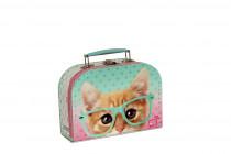 Kufřík Kočička Rayben zeleno/růžový 20 cm