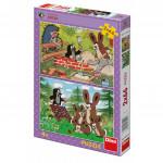 Puzzle Krtek a zajíci 2x66 dílků 32,3x22cm