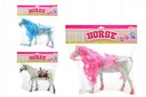 Kůň česací fliška 32cm - mix barev