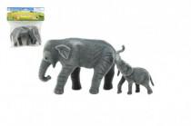 Slon a slůně 2ks zvířátko fliška 15cm
