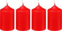 Svíčka adventní 40x60 mm - červená - 4 ks