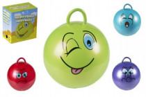Skákací míč smajlík s úchytem 45cm nosnost 60kg - mix variant či barev