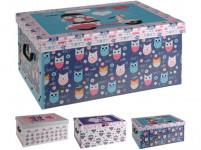 box úložný 51x37x24cm s víkem DĚTSKÝ, karton - mix variant či barev - VÝPRODEJ