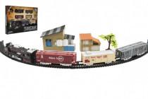 Vlak + 3 vagóny s kolejemi s doplňky plast 104x68cm na baterie se světlem