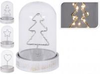 dekorace LED vánoční 14cm sklo/dřevo BÍ - mix variant či barev