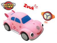 R/C Volkswagen Beetle růžový 18 cm na baterie se zvukem