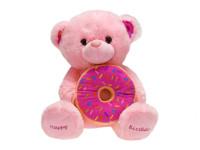 """Medvěd """"happy birthday"""" s donutem plyšový 30 cm sedící - mix barev"""