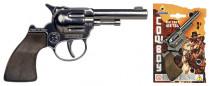 Revolver kovbojský stříbrný kovový