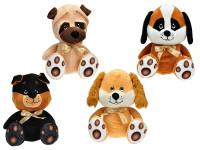 Pes plyšový sedící 25 cm s mašlí - mix variant či barev