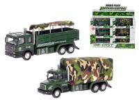 Auto vojenské 15 cm kov zpětný chod na baterie se světlem a zvukem - mix variant či barev