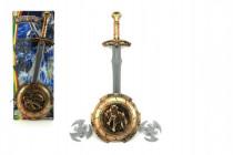 Meč se štítem a doplňky plast na kartě 21x57cm